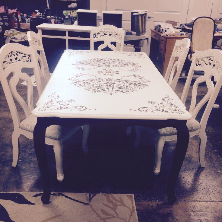 Custom scroll top dining set
