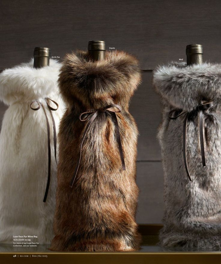 Faux fur wine cover - holiday host gift