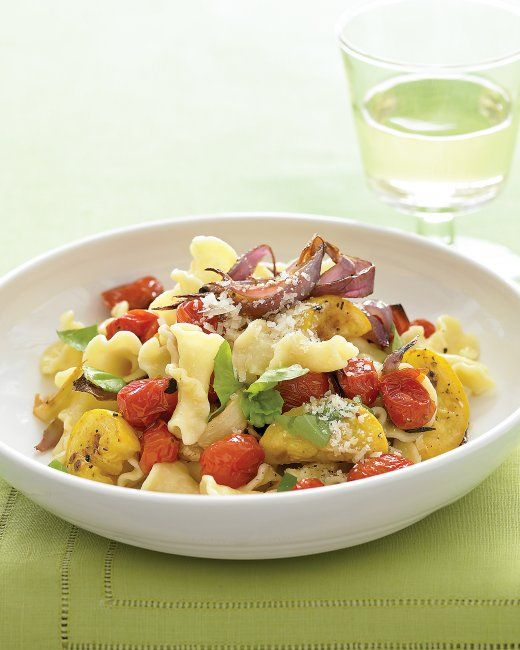 Pasta with Roasted Summer Vegetables Recipe ... (I only used a 1/4 of the butter and oil it called for)