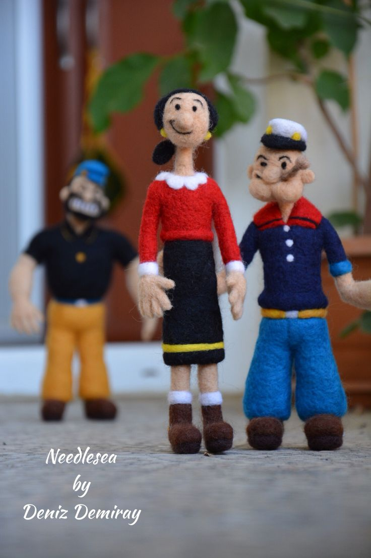 Needle felted felting Bluto, Popeye and Oil Oyl by NEEDLESEA - wow those are really well done!!