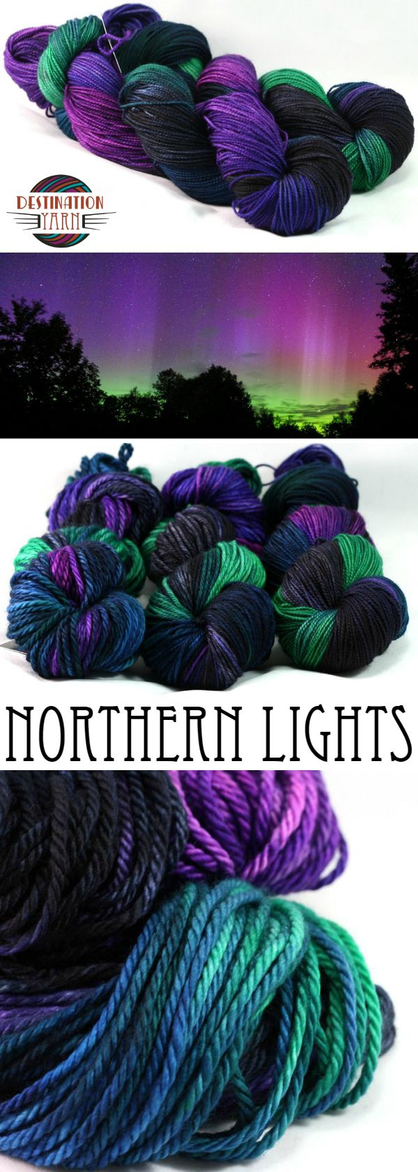 Saturated jewel tones beginning with black with pops of navy, eerie green, and purples make this skein glow with vibrant hues! Hand-dyed, bulky yarn for knitting, crochet, and DIY crafts!