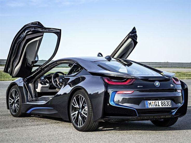 2013 BMW i8 in Black Color Rear View and opened doors