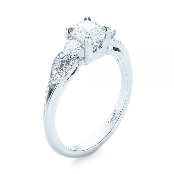Fancy Custom Three Stone Diamond Engagement Ring