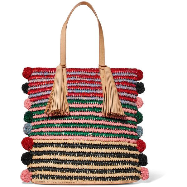 Loeffler Randall Cruise pompom-embellished leather-trimmed straw tote found on Polyvore featuring bags, handbags, tote bags, woven tote bags, pom pom straw tote, straw tote, woven straw tote and striped tote bags