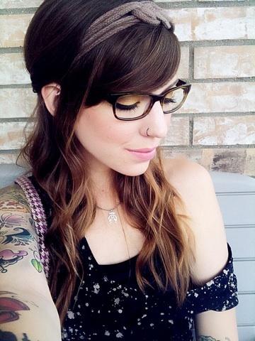 Pierced MILF in glasses