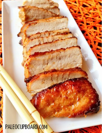 Char Siu (Chinese BBQ Pork)  Traditional char siu is marinated in a combination of honey, soy sauce and hoisin sauce. This paleo friendly version captures the same flavors using raw honey, coconut aminos, apple cider vinegar, almond butter and sesame oil.