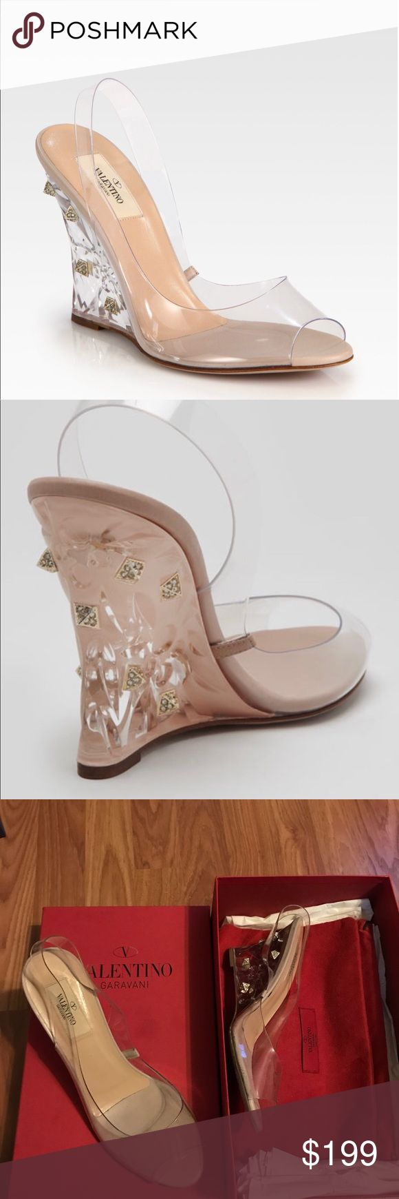 Valentino Wedge Sandal Valentino Wedge Sandal. The wedge is stuffed. This looks like a Cinderella shoe. It's a size 38. Has been worn a couple of times. Valentino Shoes Wedges