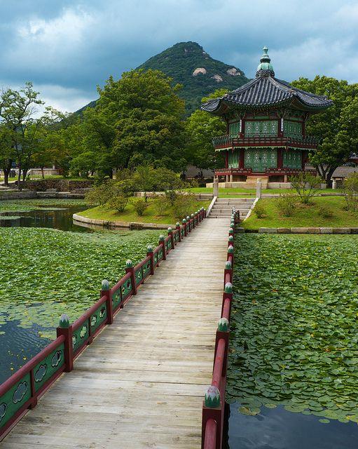 Bridge to Hyangwonjeong Pavilion in Seoul, South Korea.
