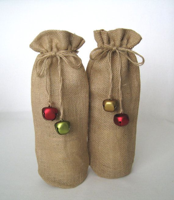 set of 2  Holiday WINE BOTTLE BAGS  Burlap Bag  by MamaMiaGalleria, $14.00