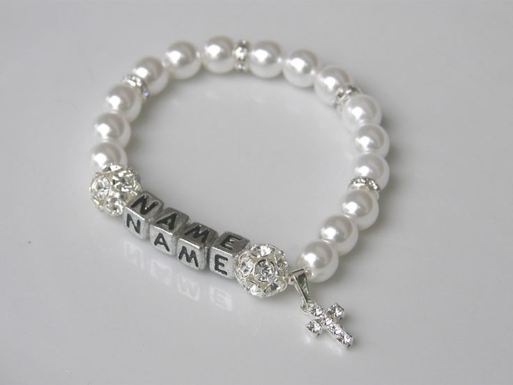Taufschmuck - Namen Kreuz Armband Taufe Kommunion Perlen Baby - ein Designerstück von lindaboutique bei DaWanda