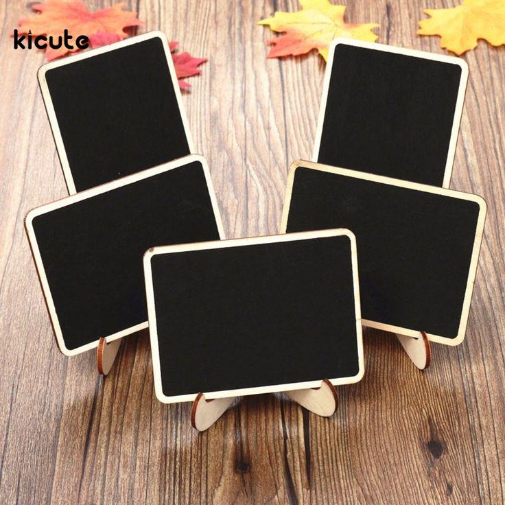 10 pcs/ensemble Mini En Bois Message Blackboard tableau noir avec Support Petit Noir Tableau D'affichage De Mariage Home Office Décor Fournitures