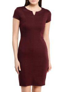 Бордовое платье для офиса Oodji