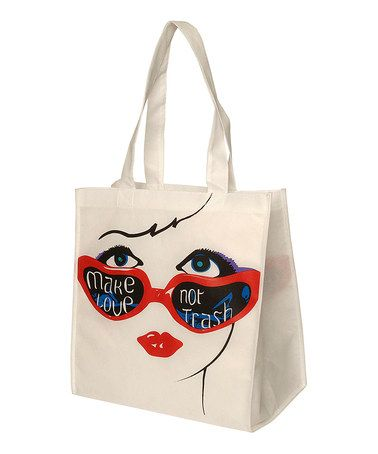 Take a look at this White & Red Sunglasses Tote by Make Love Not Trash on #zulily today!
