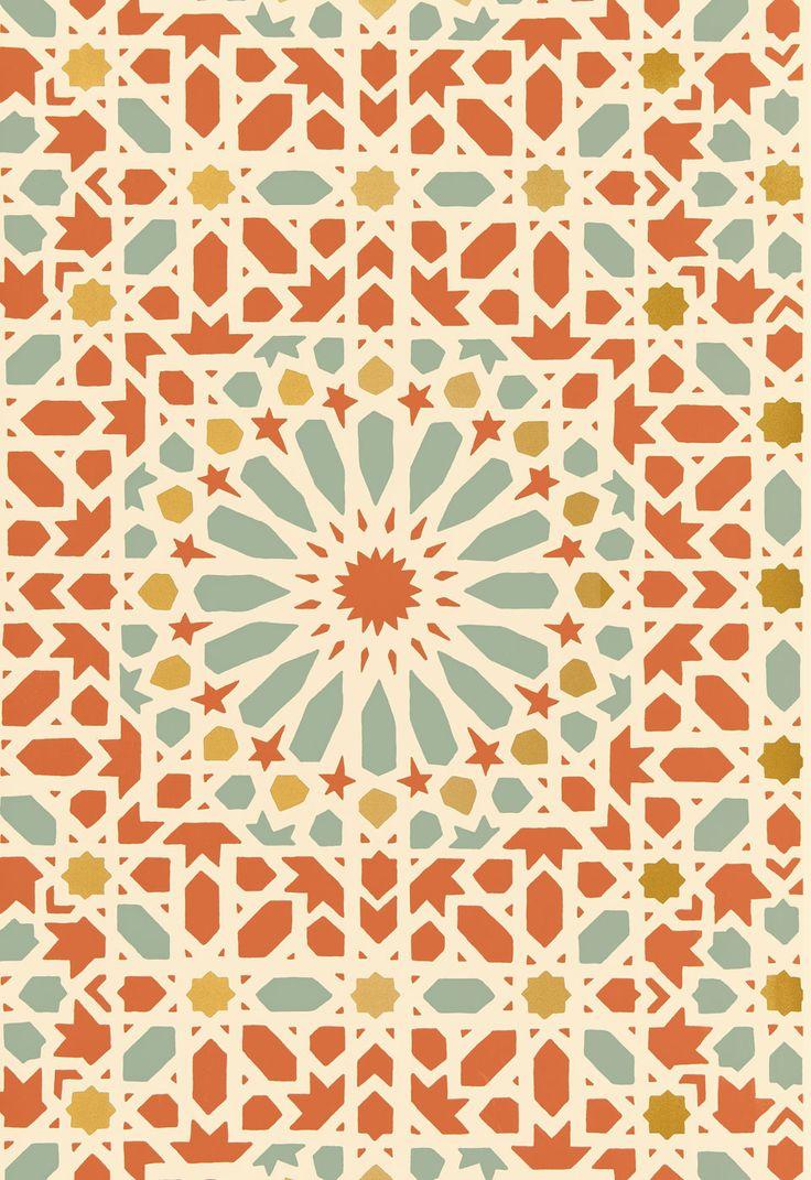 Orange Teal Geometric Mosaic Wallcovering Wallpaper