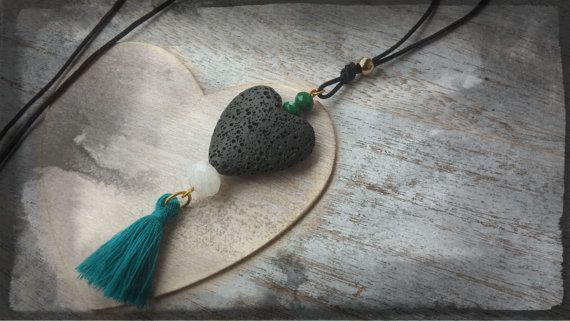 Handmade  pendant necklace black heart with dark by toocharmy
