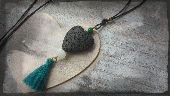 Handmade  pendant necklace black heart with dark by toocharmy
