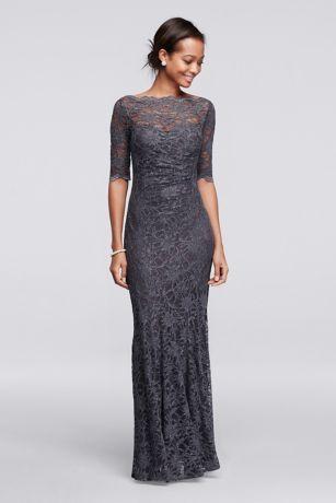 Long All Over Glitter Lace Mermaid Dress - Davids Bridal