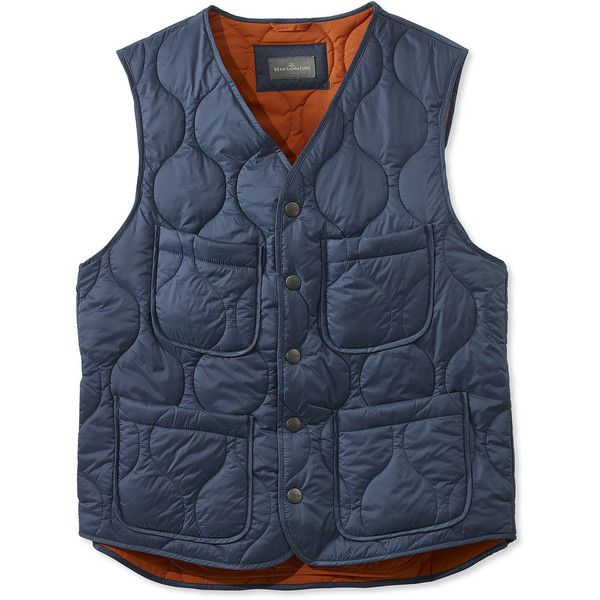 L.L.Bean Signature Signature Packable Quilted Camp Vest (175 CAD) ❤ liked on Polyvore featuring men's fashion, men's clothing, men's outerwear, men's vests, mens vest outerwear, mens quilted vest, mens slim fit vest, mens vest and mens slim vest