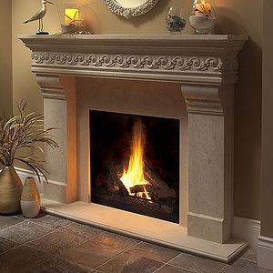 Love a stone fireplace mantle!