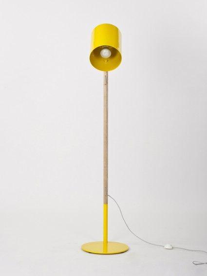 yellow lean floor lamp- workroom design