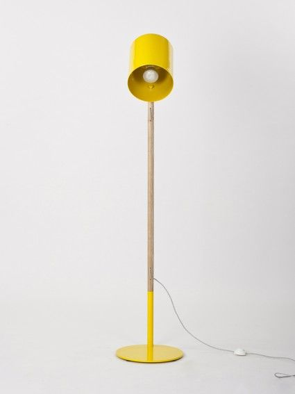 yellow lean floor lamp- workroom design