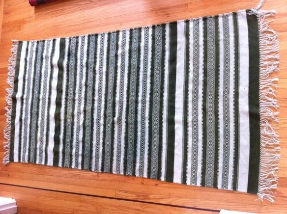 Green striped ethnic dhurrie rug, 4x6