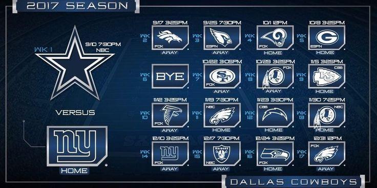 2017-18 DALLAS COWBOYS PRO NFL FOOTBALL SCHEDULE SEASON FRIDGE MAGNET (LARGE 4X5