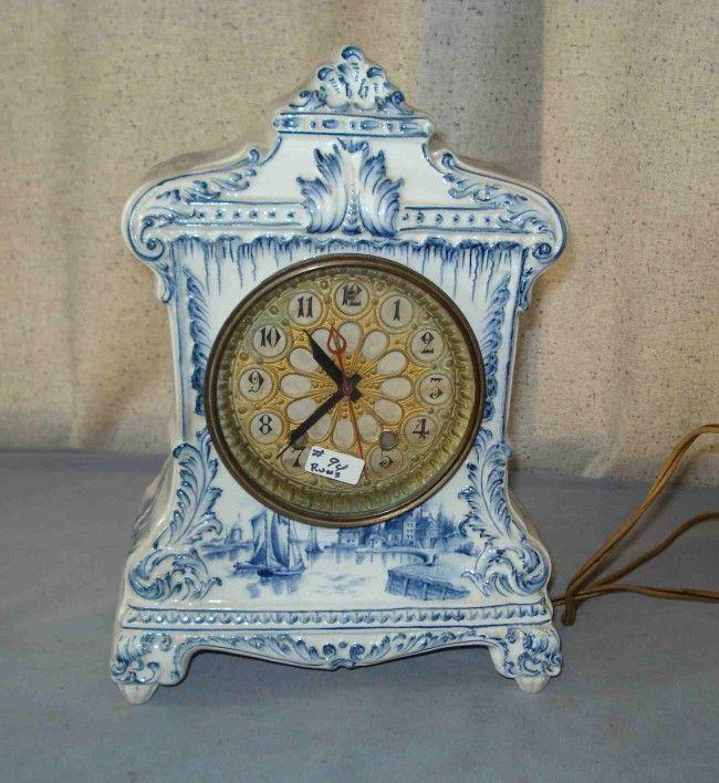 """Delft Blue   109: A """"Delft"""" Blue And White Mantel Clock"""