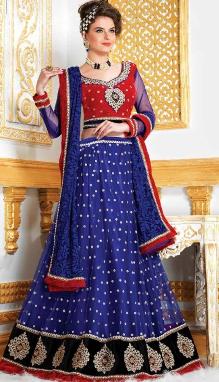 Beautiful Bollywood Indian Bridal Wear Royal Blue Nett Lehenga.  For more information, visit Efello.com .