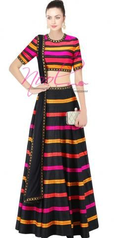 Langa Voni Bangalori Silk Black Sequin Work SemiStitch ND1141D022
