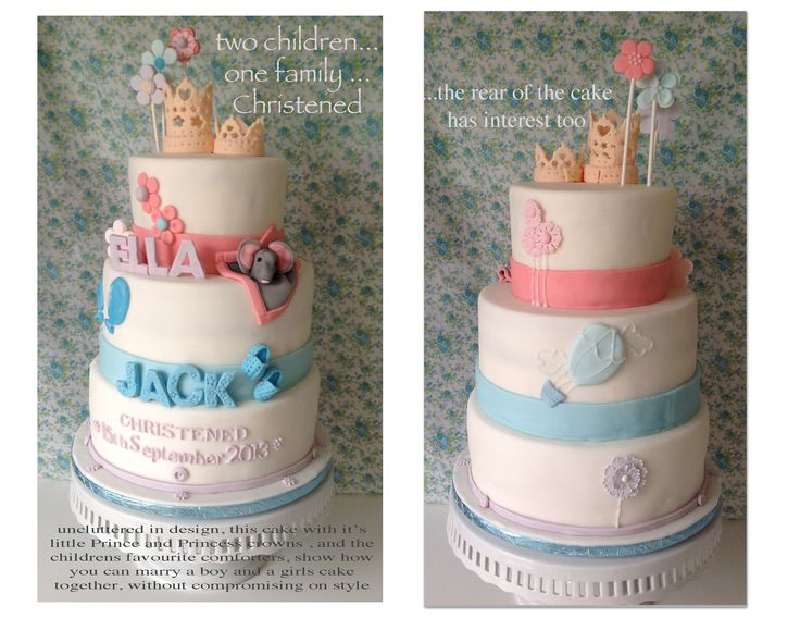 Christening cake for a boy and girl