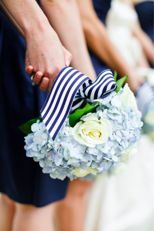 ♡ Navy blue #wedding #Flowers with striped ribbon ... For wedding ideas, plus how to organise an entire wedding, within any budget ... https://itunes.apple.com/us/app/the-gold-wedding-planner/id498112599?ls=1=8 ♥ THE GOLD WEDDING PLANNER iPhone App ♥  For more wedding inspiration http://pinterest.com/groomsandbrides/boards/ photo pinned with love & light, to help you plan your wedding easily ♡