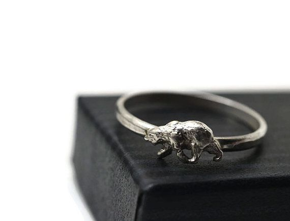 Made to Order Silver Polar Bear Ring  Material: Sterling Silver  Finish: Shiny, Hammered  Ring Band: 2mm (.078) Wide  Sizes: 4 - 16, Including Half &