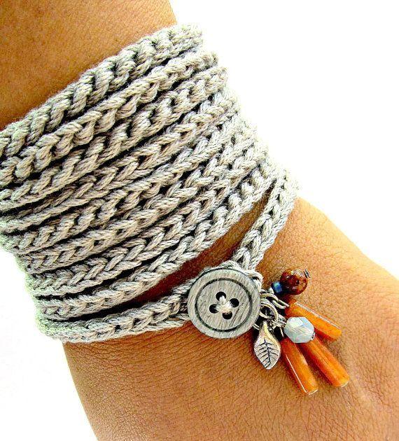 Crochet bracelet with charms, wrap bracelet, silver grey, cuff bracelet, bohemian jewelry, crochet jewelry, fiber jewelry, spring fashion