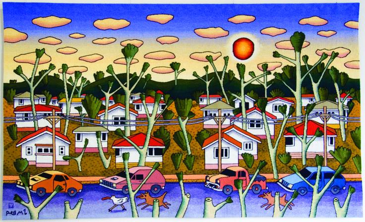 """Bush suburbs"" Reg Mombassa 2002 Size: 1.8 x 2.92 m Materials: wool, cotton Weavers: Merrill Dumbrell, Gerda van Hamond, Irja West. Australian Tapestry Workshop. #tapestry"