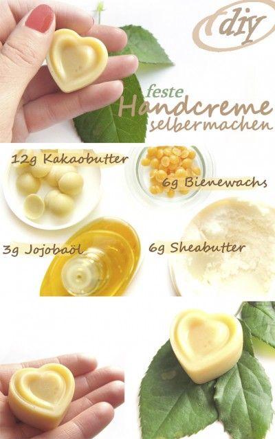 Handcreme in fester Form aus 100% natürlichen Inhaltsstoffen: Mit Kakaobutter, Sheabutter, Bienenwachs und Jojobaöl könnt ihr pflegenden Balsam für die Hände selber herstellen! Hier gibt's die Anleitung