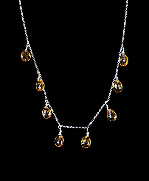 "Nima Necklace - 92.5% silver - Delicately lined with 9.44cts honey quartz stones - 14"" length silver chain - Lobster fastening"