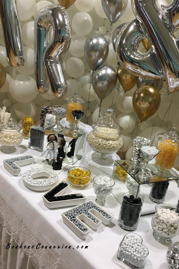 Wedding Candy Buffet Bar Color Themed White Silver Black And