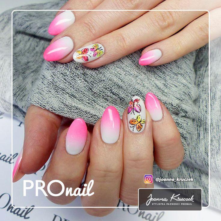 Pomysły na paznokcie #4 - różowe paznokcie ombre w motyle - Sklep Procosmetics.pl