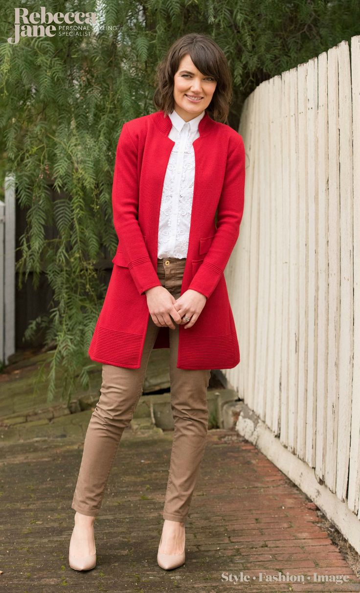 Classic red long line jacket #cablemelbourne teamed with a crisp white shirt #topshop and tan skinnies #countryroad
