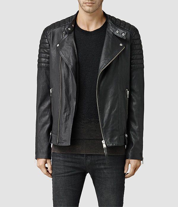Mens Jasper Leather Biker Jacket (Black) - product_image_alt_text_1