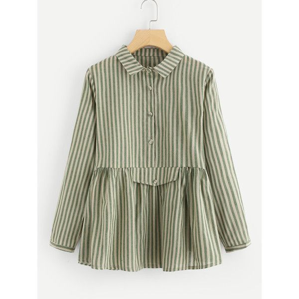 1102826fb57be5 SheIn(sheinside) Vertical Striped Babydoll Blouse ( 19) ❤ liked on Polyvore  featuring