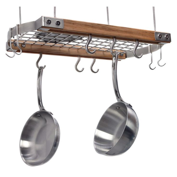 Brunswick ceiling pot rack natural you 39 ve just found for Overhead pots and pans rack