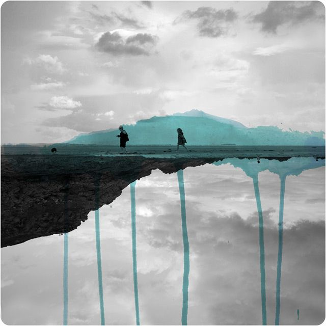 Mirrored Photographs Combined with Watercolor by Fabienne Rivory
