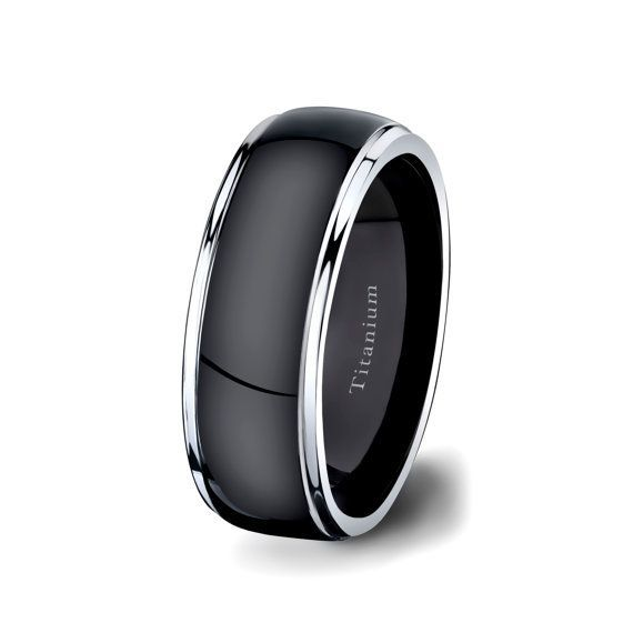 Mens Wedding Band Black Titanium Ring 8mm Dark Surface Two Tone white Step Down Edges Comfort Fit