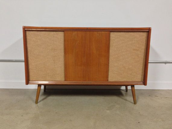 Mid century korting delmonico stereo console by for Turntable furniture
