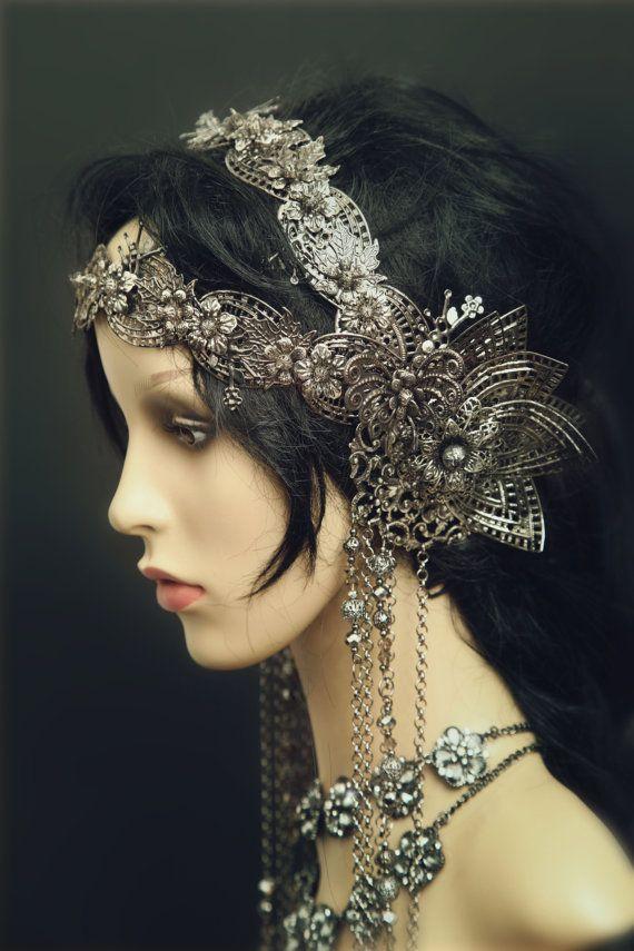 Filigree Art Nouveau Jugendstil vintage Headpiece wrap tiara crown Fantasy LARP Elven wedding gun metal silver butterfly flower