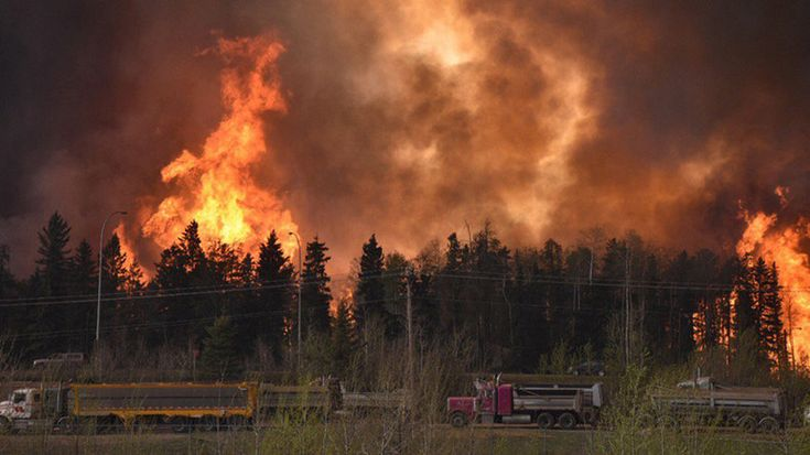 The entire population of Fort McMurray in northern Alberta, Canada has been ordered to abandon their homes after a wildfire ravaging a nearby forest moved into the area. The fire has already destroyed homes in several neighborhoods.