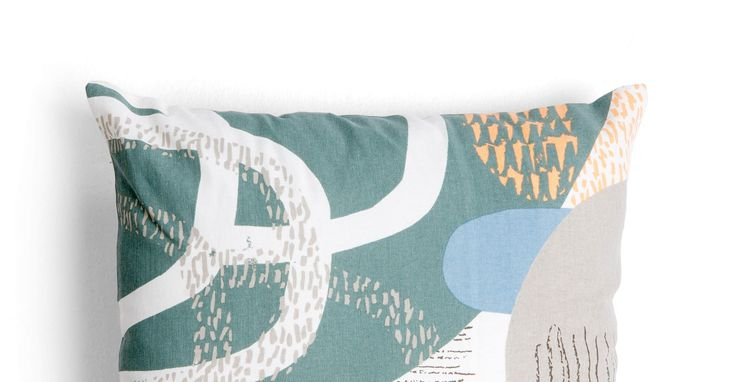 Cove Printed Cushion 45 x 45cm, Soft Teal and Grey Mix