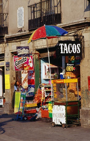 """""""A small taco stand near the Zocalo in Mexico City""""   We love this... kind of like the little stand where we got our start!"""